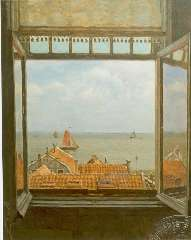 Tholen W.B. - View of the Zuiderzee from Hotel van Diepen, Volendam, oil on canvas 70 x 58.5 cm, signed l.r.