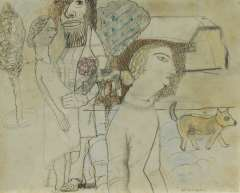 Kruyder H.J. - The protector of the unwanted pregnant woman, pencil, pen, ink and pastel on paper 17.2 x 21.3 cm, signed l.r. and painted ca. 1922-1926