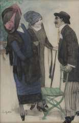 Gestel L. - Conversation in the park, Charcoal and pastel on paper 50.1 x 33.4 cm, signed l.l. and executed ca. 1910