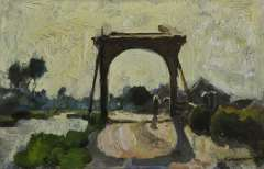 Vreedenburgh C. - Drawbridge in Noorden, oil on panel 16 x 24.7 cm, signed l.r. and painted ca. 1902-1906