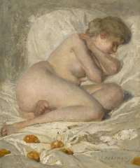 Haverman H.J. - Sleeping nude, oil on canvas 30.5 x 25.7 cm, signed l.r.