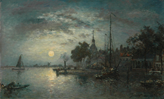 Jongkind J.B. - Clair de Lune, Dordrecht, oil on canvas 40.3 x 65.6 cm cm, signed r.o. and dated 1872