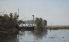 Gabriel P.J.C. - A peat cutter with his barge in a polder landschape, oil on canvas 28,6 x 46,5 cm, signed l.r.