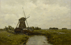 Gabriel P.J.C. - Windmill near Leidschendam, oil on panel 39.4 x 60 cm, signed l.l.