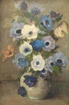 Wandscheer M.W. - Anemones in a white vase, oil on canvas laid down on board 60,7 x 41 cm, signed l.r. with initials