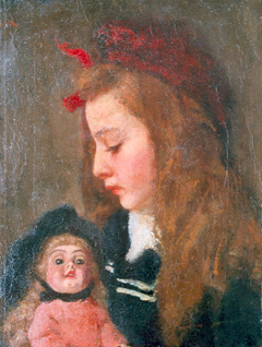 Wandscheer M.W. - Henriëtte Thueré with a doll, oil on canvas 41.4 x 31.5 cm, signed u.l. traces of signature