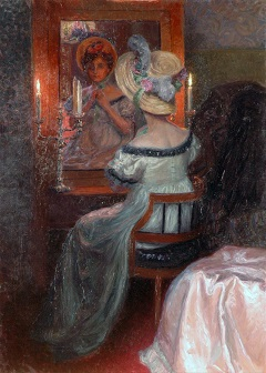 Lenz M. - Lady with hat before the mirror, oil on canvas 110.5 x 80.3 cm, executed ca. 1910
