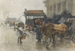 Josselin de Jong P. de - Carriages at the station Hollandse Spoor, The Hague, watercolour on paper 41 x 58 cm, signed l.l. and dated Maart (March) 1888