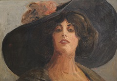 German school early 20th - Lady with a Hat, oil on board 24.8 x 35 cm