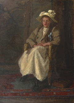 Houten B.E. - A girl in a chair, oil on canvas 158.3 x 116.7 cm, signed l.r. and painted before 1901