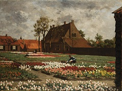 Koster A.L. - A bulb field with the house of 'Benedictus de Spinoza', Rijnsburg, oil on canvas 75.1 x 100.4 cm, signed l.l.