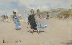 Kaemmerer A.F. - Elegant ladies at the Scheveningen beach, oil on board 15.5 x 24 cm, dated  'Scheveningen Mai '71'