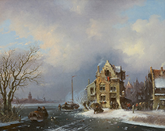 Stok J. van der - A busy day in an town on a frozen river, oil on canvas 40.8 x 50.6 cm, signed l.r. and dated '59
