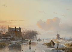 Schelfhout A. - A frozen river with wood-gatherers, oil on panel 38.5 x 49.8 cm, signed l.l. and dated 1845