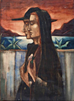 Schelfhout L. - Woman and man, Corsica, Chalk and watercolour on paper 93.4 x 68.6 cm, signed l.l. and dated 1922