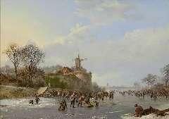 Koekkoek B.C. - Winter landscape with skaters and a 'koek-en-zopie', oil on panel 31.4 x 43.9 cm, gesigneerd r.o. and gedateerd 1827