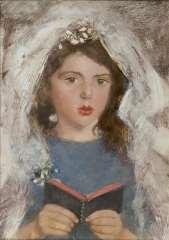 Broedelet A.V.L. - Communicant (Emmetje de Leeuw), oil on painters' board 30.3 x 21.5 cm, signed l.c.