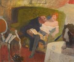 Galema A. - A couple on a sofa, oil on canvas 53.5 x 63.3 cm