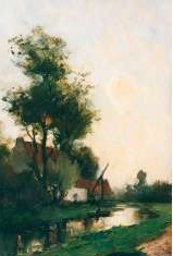 Mondriaan F.H. - A landscape at dawn, oil on panel 36 x 24.3 cm, signed l.l.