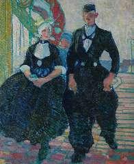 Sluiter J.W. - Dutch couple of Volendam, oil on canvas 75.8 x 62.5 cm