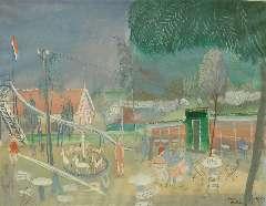 Rozendaal W.J. - Speeltuin op Voorne, gouache op papier 40 x 51,2 cm, gesigneerd r.o. and gedateerd 'Voorne 1939'