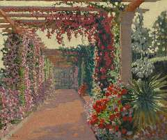 Arbey M. - Pergola at dusk, cote de l'Estérelle, oil on panel 45.5 x 54.9 cm, signed l.l.