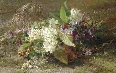 Sande Bakhuyzen G.J. van de - A still life of flowering springs and violets, oil on panel 22.9 x 36.3 cm, signed l.r.