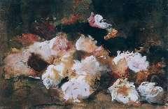 Breitner G.H. - Stilleven van rozen, zwart krijt en aquarel op papier 26,3 x 37,6 cm