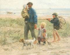 Zoetelief Tromp J. - Homeward bound with the catch,, oil on canvas 40.5 x 50.7 cm