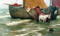 Farasijn E. - 'Katwijkse bomschuit', oil on canvas 87.5 x 135.5 cm, signed l.r.