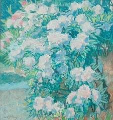 Patoux E.J. - Rododendrons, oil on canvas 75.8 x 70.5 cm, gesigneerd l.o. voluit en mon.