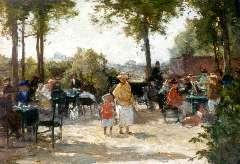Akkeringa J.E.H. - Teagarden, oil on panel 18 x 25.2 cm, signed traces of signature