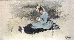 Mauve A. - Portret van Ariëtte Mauve-Carbentus zittend in de duinen, oil on canvas laid down on panel 19.5 x 33.8 cm, signed l.r.