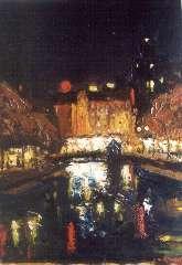 Mackenzie M.H. - Reflections: Singel near the Munt in Amsterdam, oil on board 39.8 x 29.8 cm, signed l.r.