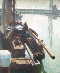 Sluiter J.W. - Harbour of Volendam, oil on canvas 80.3 x 65.4 cm, signed l.l.