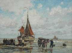 Hambüchen W. - Fish Auction, oil on canvas 60.4 x 80.4 cm, signed l.l.