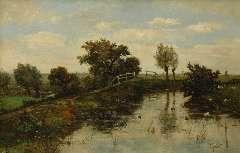Gabriel P.J.C. - Dutch polder landscape, oil on canvas 63.6 x 97.7 cm, signed l.r.