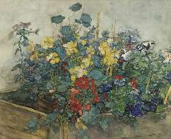 Akkeringa J.E.H. - Summer flowers, watercolour and gouache on paper 54.1 x 67 cm, signed l.l.