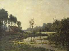 Mondriaan F.H. - Farmhouse along a stream, oil on canvas laid down on board 47.6 x 63.5 cm, signed l.r.