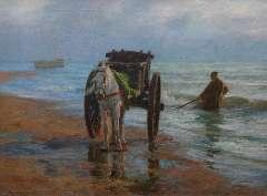 Farasijn E. - Shellfishing along the Noordzee coast, oil on canvas 88.2 x 120.7 cm, signed l.l.