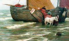 Farasijn E. - 'Katwijkse bomschuit', oil on canvas 87,5 x 135,5 cm, signed l.r.