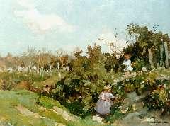 Akkeringa J.E.H. - Children picking flowers, oil on canvas 32.3 x 40 cm, signed l.r.