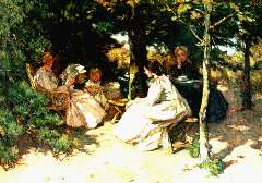 Akkeringa J.E.H. - Afternoon tea, oil on canvas 31.5 x 42.2 cm, signed l.l.