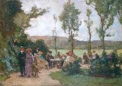 Akkeringa J.E.H. - The tea garden, oil on panel 17.4 x 24.6 cm, signed l.r.