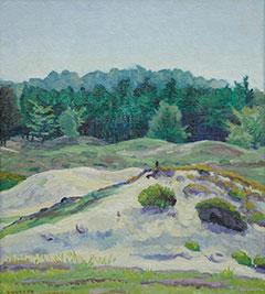 Vilmos Huszár - Landscape near Hulshorst, oil on canvas laid down on panel 38.4 x 34.3 cm, signiert l.l.