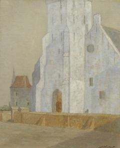 Windhorst J.C. - The Andreaskerk, Katwijk aan Zee, oil on canvas 50.6 x 41.5 cm, signed l.r.