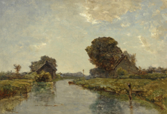 Gabriel P.J.C. - A canal near Kortenhoef, oil on canvas 38.8 x 54.8 cm, signed l.l.
