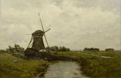 Gabriel P.J.C. - Windmill near Leidschendam, oil on panel 39.4 x 60 cm, signed l.l.
