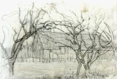 Mondriaan P.C. - A farmstead, chalk on paper 11.7 x 16.8 cm, painted circa 1905