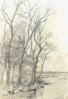 Mondriaan P.C. - Farm near Duivendrecht; detailed examination of a barn, pencil on paper 16.6 x 11.7 cm, painted circa 1905